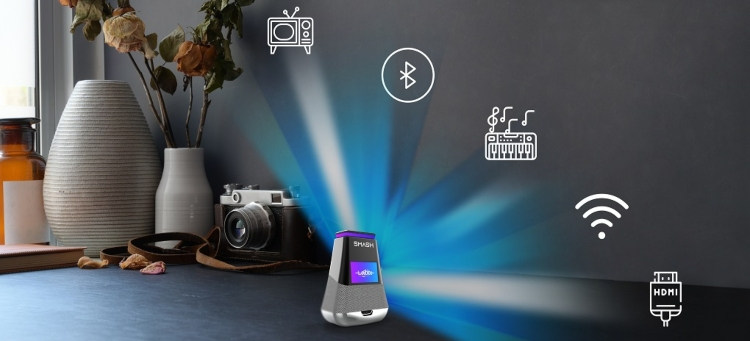 Portable smart projector with 360 degrees surround sound, Bluetooth, Wi-Fi HDMI voice assistant powered by AI and much more